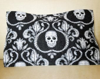 Halloween Pillow Silver Skulls Tapestry Fabric