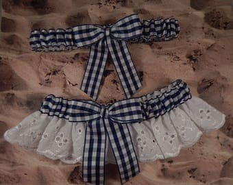 Navy Blue Gingham White Eyelet Lace Country Barn Outdoor Wedding Garter Toss Set