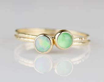 Set of Two - Natural Fiery AAA Opal and Vivid Chrysoprase - Set of Solid 14k Gold Stacking Rings - Simple Delicate Dainty 14K Yellow Gold