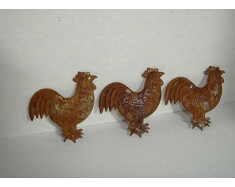 Rusty Metal Roosters/Set of 3/Craft Supplies*
