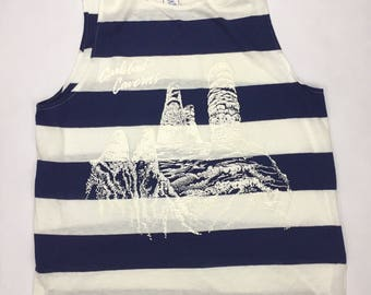 Vintage Carlsbad Caverns national park nautical striped tanktop Made in USA Large