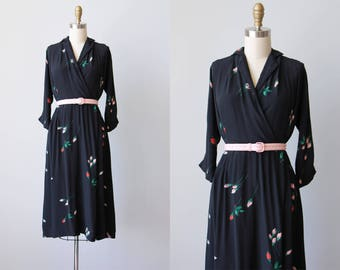 Vintage 1940s Dress - 40s Dress - RARE Blue Black Pink Rose Print Floral Rayon Dress M - Darkest Desire Dress