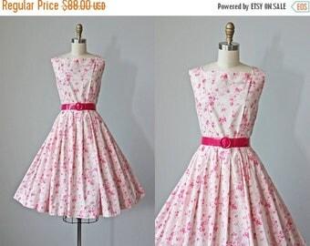 ON SALE 1950s Dress - Vintage 50s Dress - Pink on Pink Floral Print Cotton Full Skirt Sundress S M - Nevertheless Dress