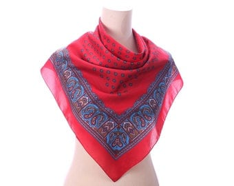 Vintage Paisley Scarf 70s Printed Red Blue Unisex 1970s Kerchief
