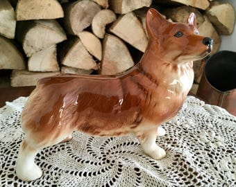 English Fine China Corgi Dog Figurine Statue Mid Century Pedigree Royal Breed Vintage 1950's Kitsch
