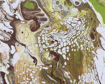 """Abstract Pour Painting, 7"""" x 14"""" white, green, copper, brown"""