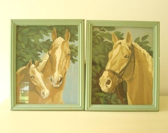 Horse paintings, 2 paint-by-number pictures, vintage cottage style home decor, green and tan framed art, childs room, cabin decor