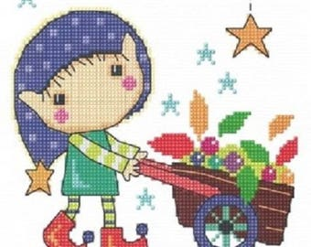 Gardening Elf Cross Stitch Kit from Elfin Wood, The Stitching Shed on 14ct Aida, needlework kit, cross stitch, counted cross stitch kit