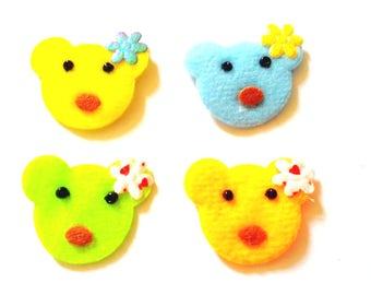 30 pcs Cute teddy Bear Appliques Embellishment Mix color size 25 mm