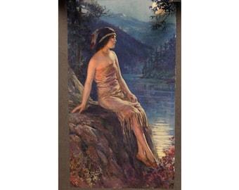 1920s Art Deco Indian Maiden Print Calendar - Fr Harper -  St-Cesaire Quebec