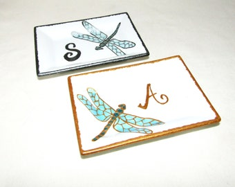 Monogram Ring Dish Personalized Hand Painted Candy Dish Dragonfly Monogram Mint Dish