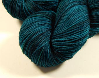 Hand Dyed Sock Yarn - Sock Weight 4 Ply Superwash Merino Wool Yarn - Deep Sea Tonal - Knitting Yarn, Fingering Yarn, Blue Green, DIY Gift