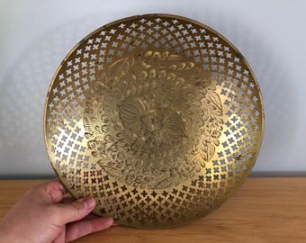 Brass Bowl with Cross Cutouts and Etching | Home Decor
