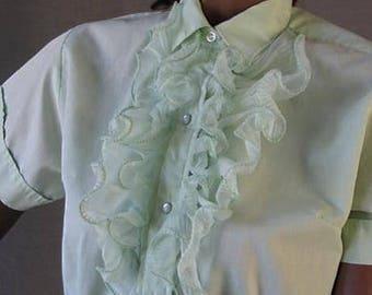 50s 60s Vintage Blouse Western Shirt Ruffled M Mint Green Ctystal Pleats