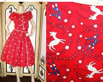 ON SALE Vintage Shirt Dress. Two Piece Set in Hunting Scene. Albino Deer and Huntsman. XS to Small.