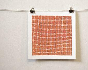 "orange post-minimal art: ""many are one,"" original ink drawing"