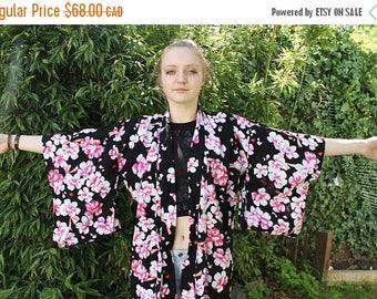 SUMMER SALE Kimono Duster, Long Cardigan, Black Duster, Festival Duster Coat, Floor Length, Long Kimono, Black, floral, BOHO Fesitval Summer