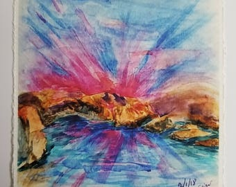 "Watercolor art print -  ""God's Way"" Psalm 18:30 -"