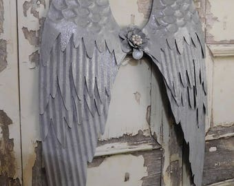 """Large Grey Gray Metal Angel Wings, Art Wall Hanging Decor, Shabby Wings Victorian Angel Wings, Home Nursery Decor 25""""x15"""" / 3-5 Day Ship"""