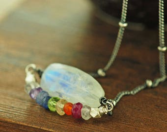 Double Rainbow Necklace, Layered Moonstone Necklace with Rainbow Gemstone Strand, Moonstone Birthstone Jewelry