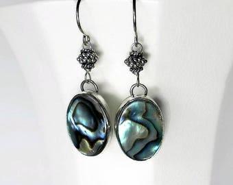 Abalone Earrings Designer Earrings Sterling Silver Shell Earrings Abalone Shell Earrings Silversmith Bezel