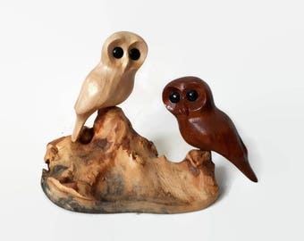 Wood anniversary gift for him owl wood carving wedding gift for couple unique rustic owls decor gift for her anniversary gifts gift for men