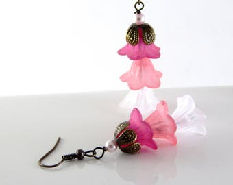 Pink Lucite Flower Earrings ~ Springtime Earrings ~ AdoniaJewelry