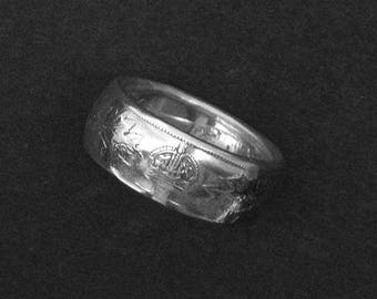 Hand Forged Double Sided Silver (80%) Coin Ring - Canadian Half Dollar George V Coin