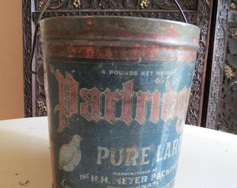 Vintage Partridge Pure Lard Metal Pail