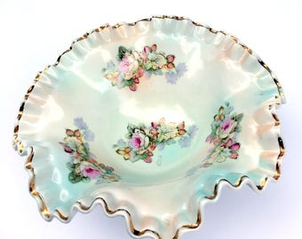 Vintage Arnat D'Art Collection China Candy Dish,Dining Serving,1940s,Japan Import,Multi color Tints,Hand Painted Floral,Gold Moriage,Ruffled