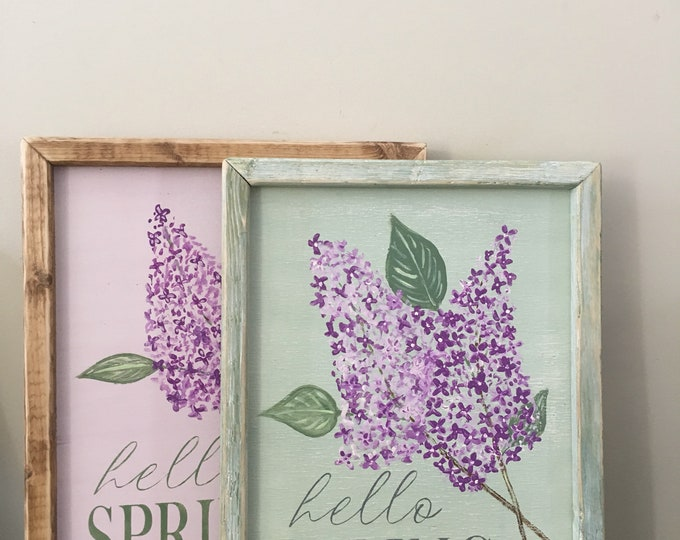 Featured listing image: Hello spring sign, spring wood sign, spring decor, flower sign