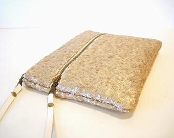 SAMPLE SALE Gold Sequin Clutch Double Zipper Clutch
