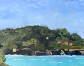 MENDOCINO COAST, 8 x 16 - Mendocino Village, California Landscape - Ocean - Original - Plein Air Painting - Home Decor - Art - Beach Decor