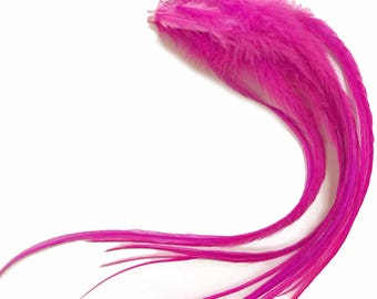 Pink Hair Feathers, 6 Pieces - Solid Hot Pink Thick Long Rooster Hair Extension Feathers : 437