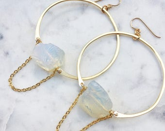 Large Hammered Hoops with Moonstone | Chain Accent | Statement Earrings | Natural Stone