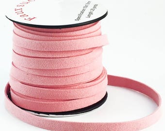 10mm Flat Rose Pink Faux Suede Cord - By The Yard