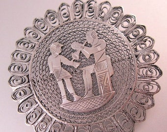 SHIPS 6/26 w/FREE Jewelry 1920s Vintage Egyptian Revival Brooch Pin Sterling Silver Filigree Jewelry Jewellery