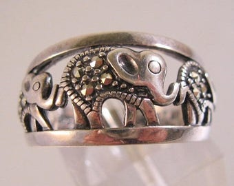 SHIPS 6/26 w/FREE Jewelry Vintage Elephant Marcasite Sterling Silver Band Ring Open Work Size 7 Signed NV Estate Jewelry Jewellery