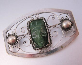 XMAS in JULY SALE Antique Mexican .900 Silver Hand Carved Face Sash Brooch Pin Vintage Jewelry Jewellery