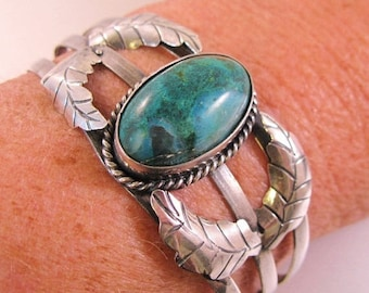SALE & FREE SHIPPING Vintage Guad Mexico Turquoise Cuff Sterling Silver Bracelet Mexican