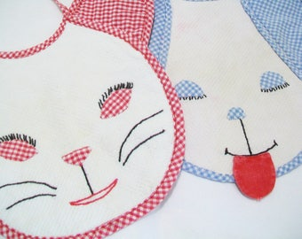 2 Baby Bibs, 1950s, Hand stitched, hand appliqued