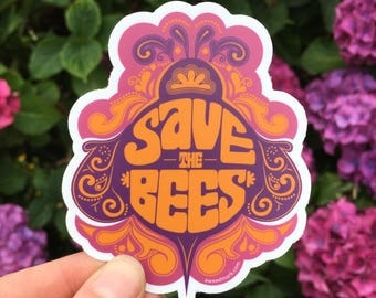 SAVE THE BEES Stickers : Activist Beekeeper Animal Rights Bee Campaign Psychedelic Stickers Honey Bees Trippy Stickers Hippie Stickers