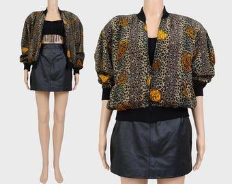 Vintage 90s Leopard Bomber Jacket | Silk Bomber Jacket | Slouchy Zip Up Jacket | Animal Print Windbreaker Jacket | Cheetah Print | size S M
