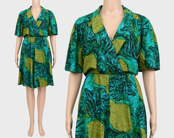 Abstract Print Culottes Romper | Vintage 80s 90s Playsuit | High Waist Wide Leg Shorts 1990s One Piece Jumper | Green Blue | Medium M