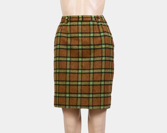 Tartan Plaid Skirt | 60s Wool Pencil Skirt | Preppy Checkered Mini Skirt | 50s Retro Wiggle Skirt | Brown Green | Small XS S - 25 waist
