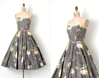 vintage 1950s dress / grey botanical print floral 50s dress / small s