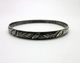 Felch & Company Danecraft Bangle Bracelet Vintage Sterling Silver VERY Dark Patina