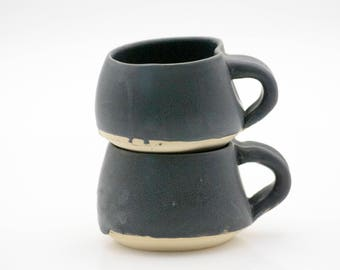 wheel thrown mugs - pottery mugs - charcoal slate - black mugs - coffee mug - stoneware mugs - ceramic mugs - set of mugs - modern mugs
