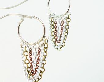Multi Chain Hoop Chandelier Earrings