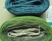 Kit -- PHILODENDRON/JEANS --  Color Changing Cotton yarn --  720 yards/150 gr --  Fingering Weight